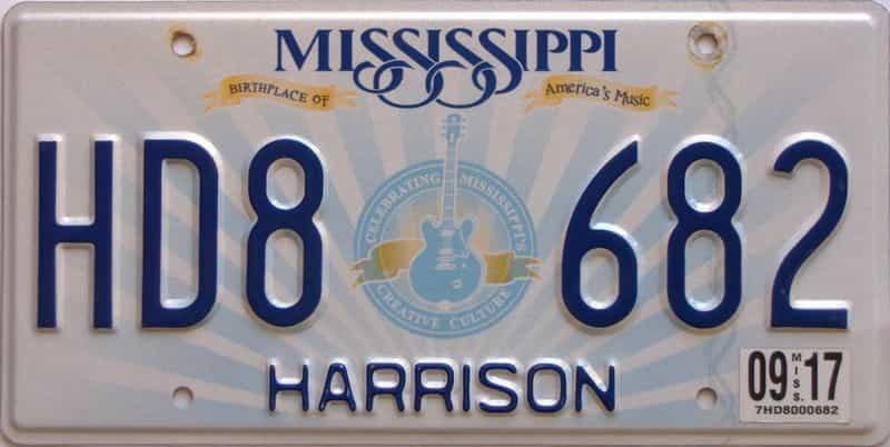 2017 Mississippi license plate for sale