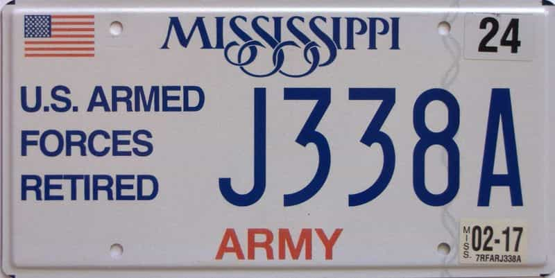 2017 Mississippi  (Military) license plate for sale