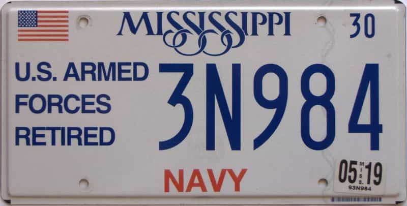 2019 Mississippi  (Military) license plate for sale