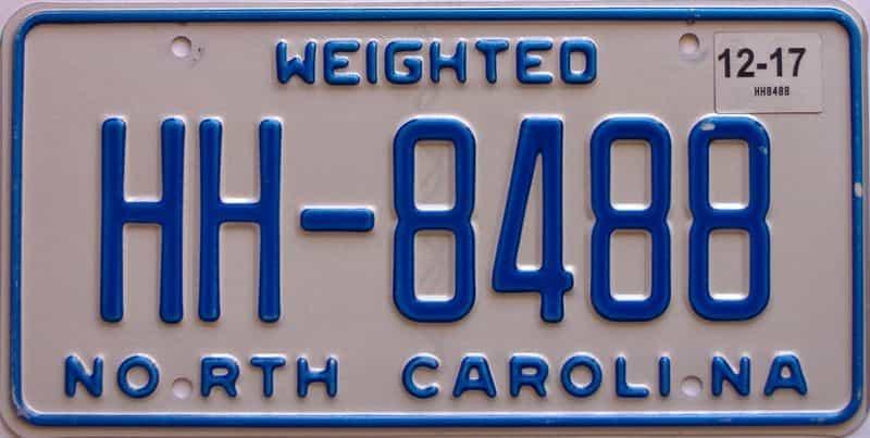 2017 North Carolina  (Non Passenger) license plate for sale