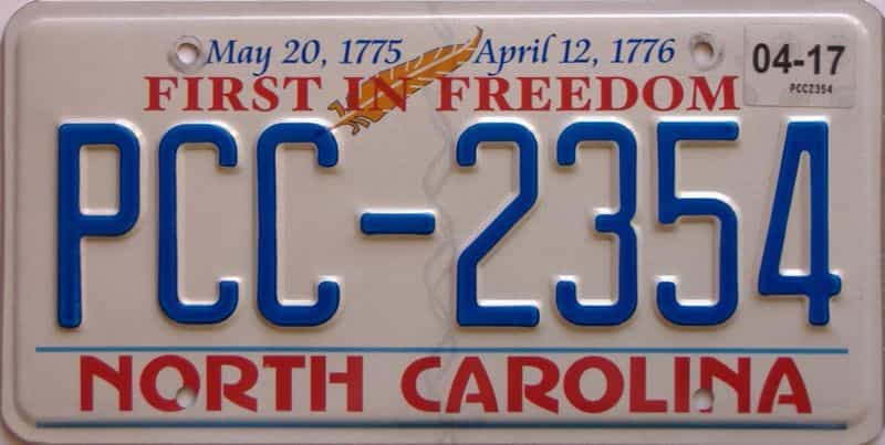 2017 North Carolina license plate for sale
