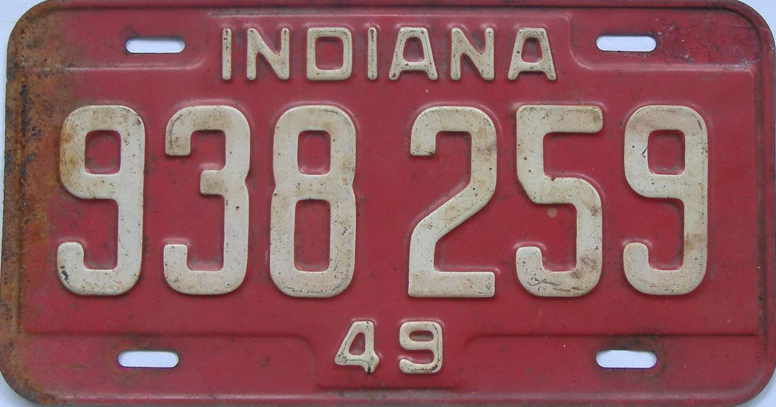 1949 Indiana (Single) license plate for sale
