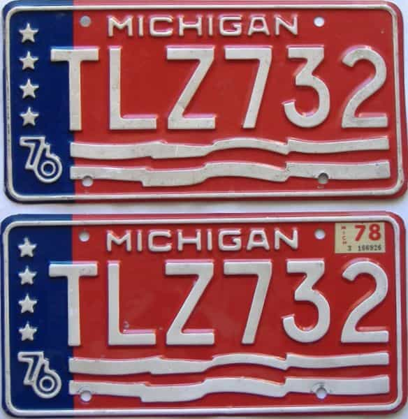 1978 Michigan  (Pair) license plate for sale