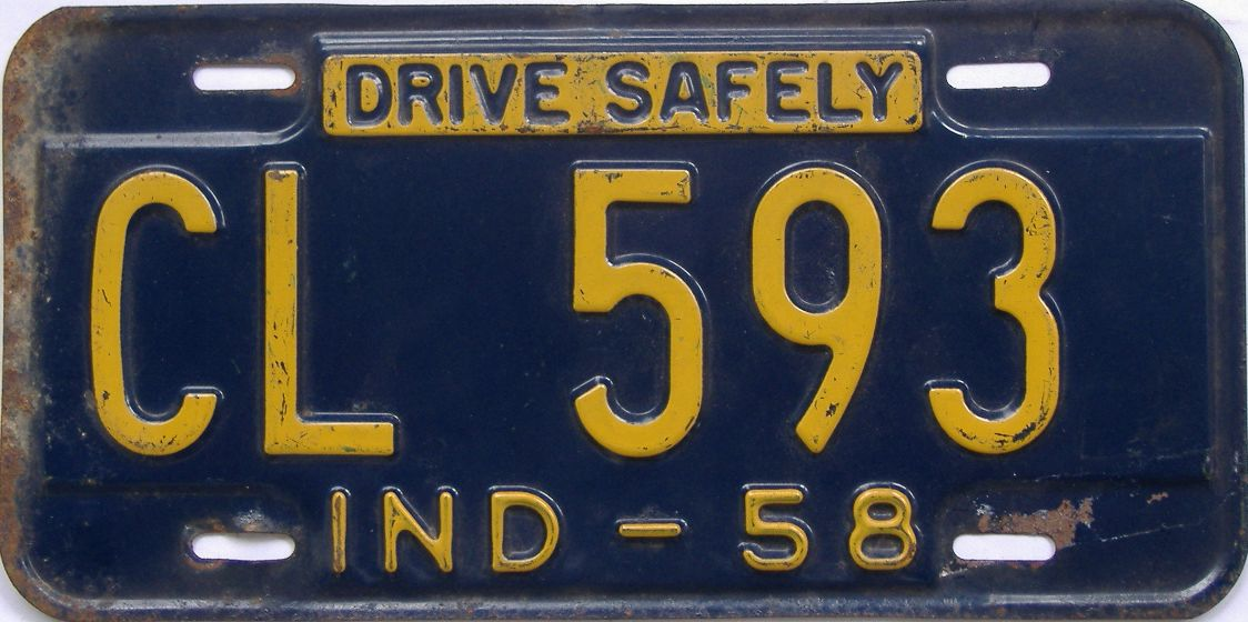 1958 Indiana license plate for sale
