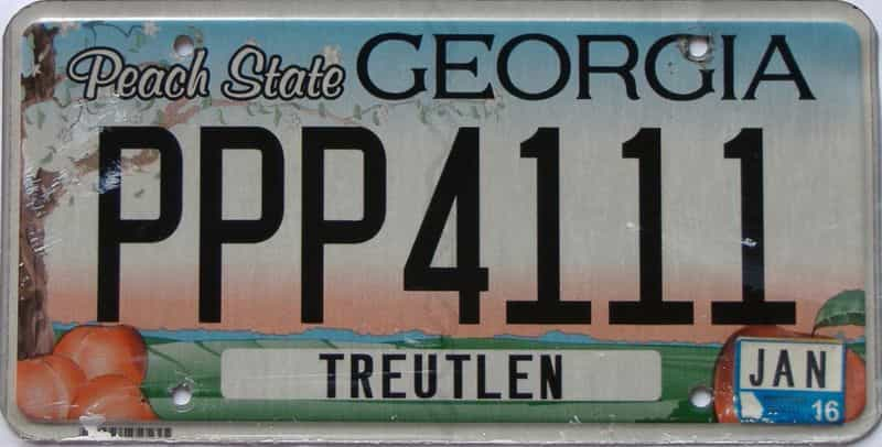 2016 Georgia Counties (Treutlen) license plate for sale