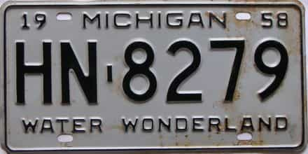 1958 Michigan  (Single) license plate for sale