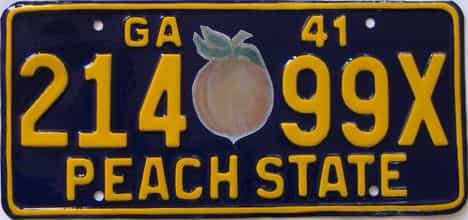 YOM 1941 Georgia (Single) license plate for sale