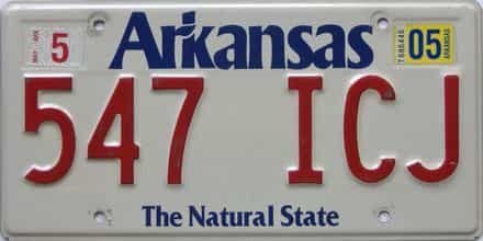 2005 Arkansas license plate for sale