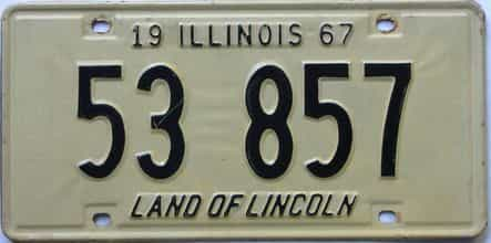 1967 Illinois  (Single) license plate for sale