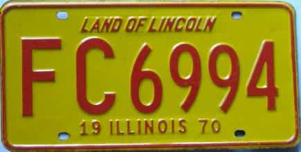 1970 Illinois (Single) license plate for sale