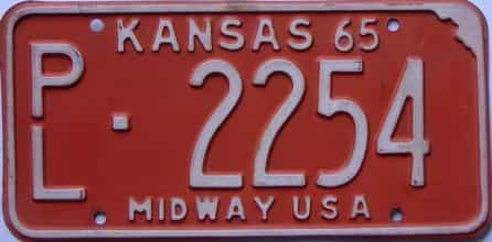 1965 Kansas license plate for sale