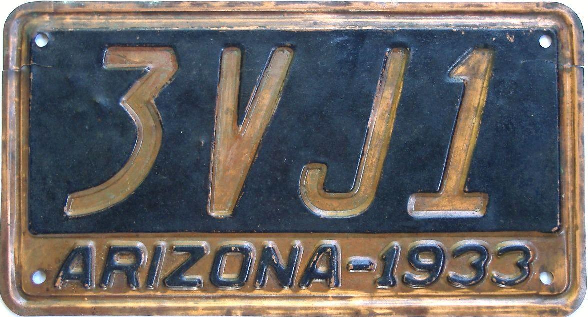 1933 Arizona (Single) license plate for sale