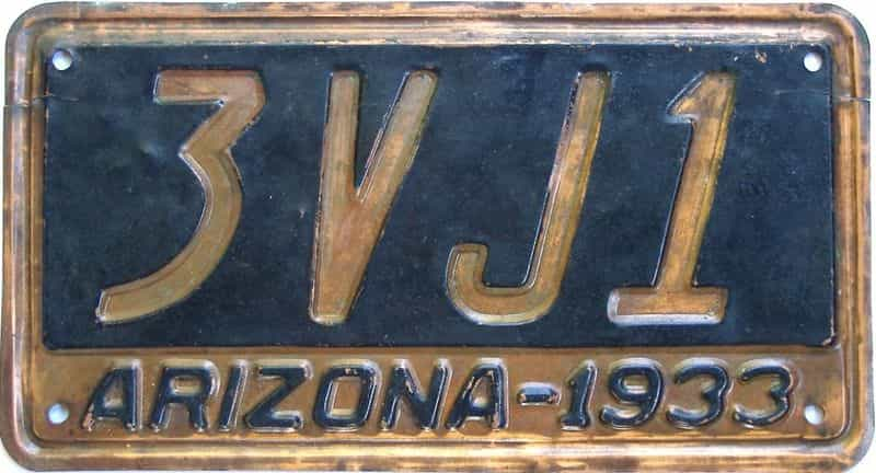 1933 AZ (Single) license plate for sale