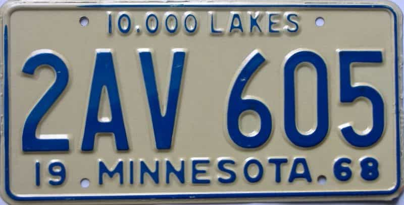 1968 Minnesota  (Single) license plate for sale