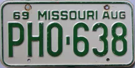 1969 Missouri license plate for sale