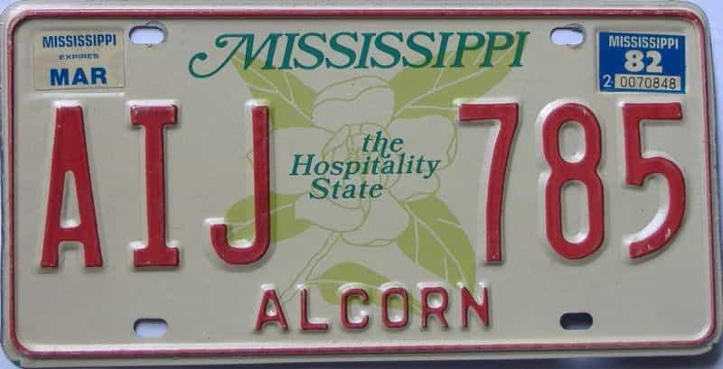 1982 Mississippi license plate for sale
