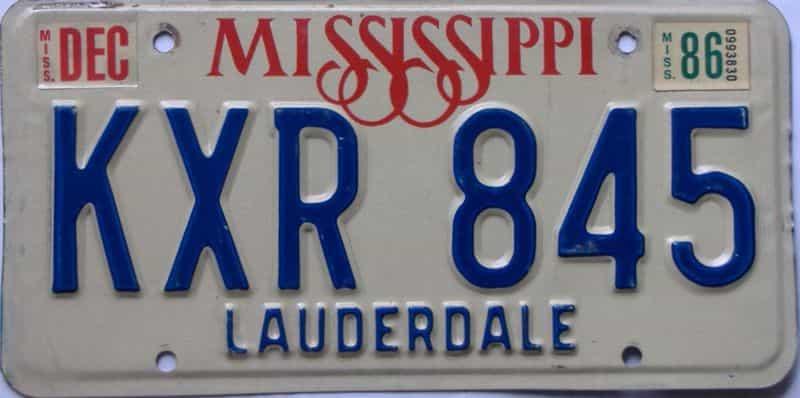 1986 Mississippi license plate for sale