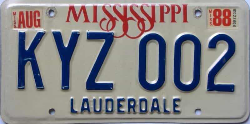 1988 Mississippi license plate for sale