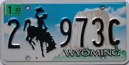 2003 Wyoming (Single) license plate for sale