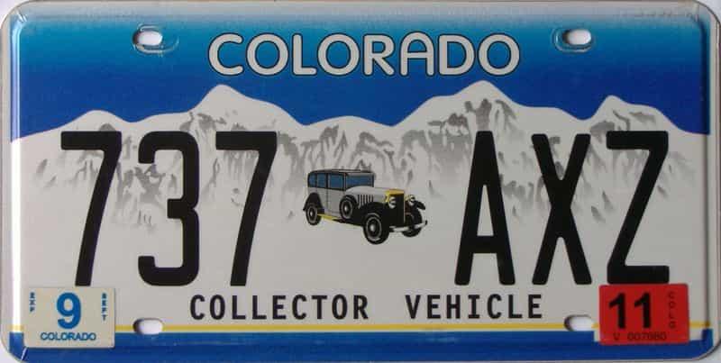 2011 Colorado (Single) license plate for sale