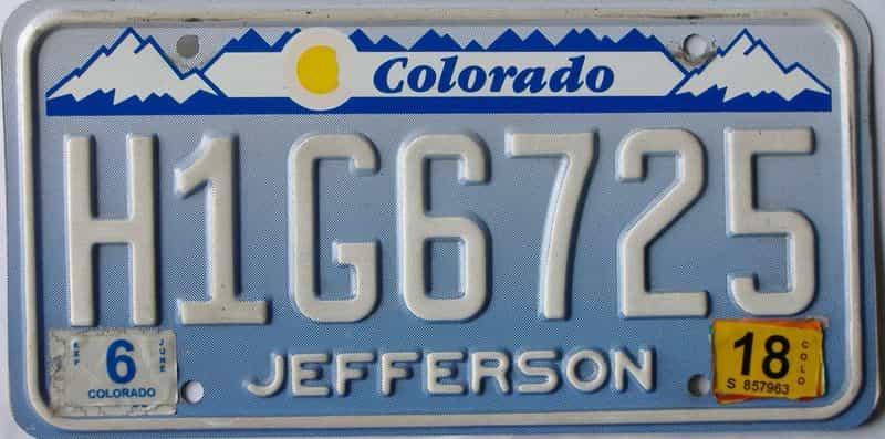 2018 Colorado  (Single) license plate for sale