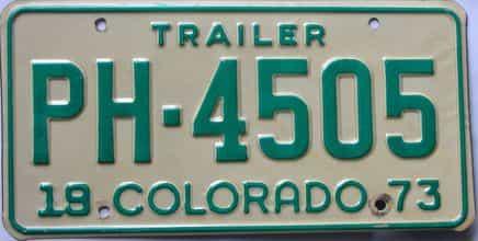1973 Colorado (Trailer) license plate for sale