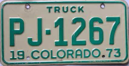 1973 Colorado (Truck) license plate for sale