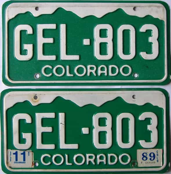1989 Colorado  (Pair) license plate for sale