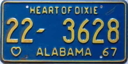 1967 Alabama license plate for sale
