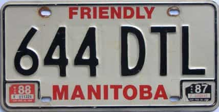 1988 Manitoba license plate for sale