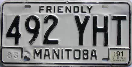 1991 Manitoba license plate for sale