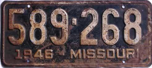 1946 Missouri license plate for sale
