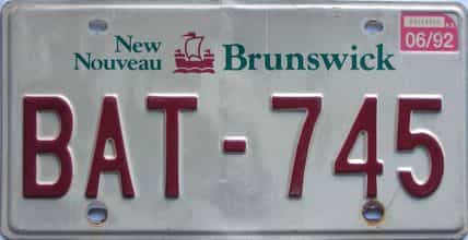 1992 New Brunswick license plate for sale