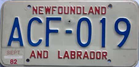 1982 Newfoundland license plate for sale