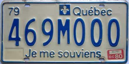 1980 Quebec license plate for sale