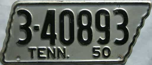 1950 Tennessee  (Single) license plate for sale