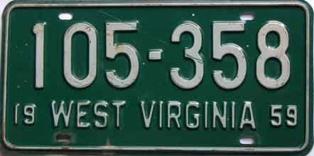 1959 West Virginia license plate for sale