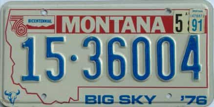 1991 Montana license plate for sale