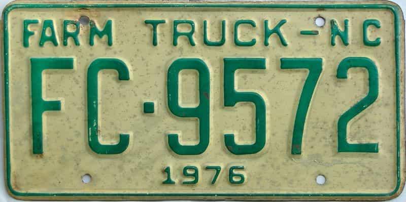 1976 North Carolina  (Farm Truck) license plate for sale