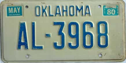 1980 Oklahoma license plate for sale