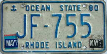 1997 Rhode Island (Single) license plate for sale