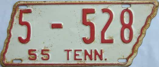 1955 Tennessee  (Single) license plate for sale