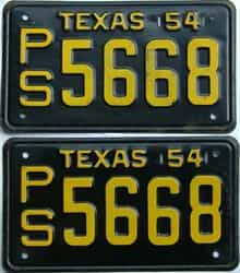 1954 Texas  (Pair) license plate for sale