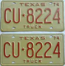 1974 Texas (Truck) license plate for sale