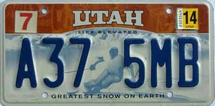 2014 Utah  (Single) license plate for sale
