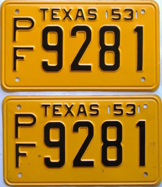 1953 Texas  (Pair) license plate for sale
