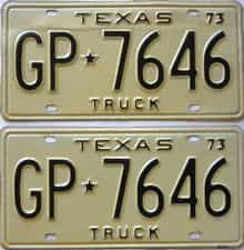 1973 Texas (Pair) license plate for sale