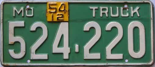 1954 Missouri (Truck) license plate for sale