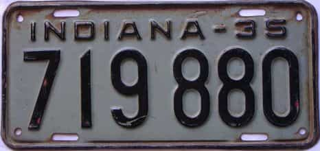 1935 Indiana  (Single) license plate for sale