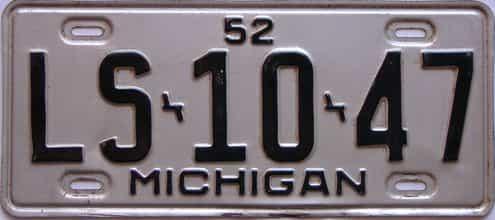 1952 Michigan license plate for sale